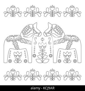 scandinavian outline vector design swedish dala or dalecarlian horse pattern coloring book for adults