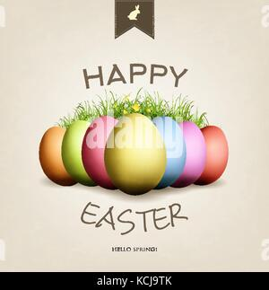 Grunge Easter card with eggs, grass, butterflies and happy wishes - Stock Photo
