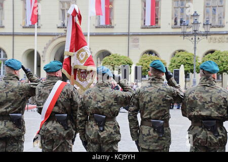 Polish army officers in green uniforms on a parade - Stock Photo