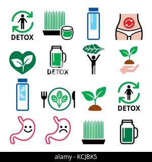 Detox, body cleaning with juices, vegetables or diet vector icons set Detox, body cleaning with juices, vegetables - Stock Photo