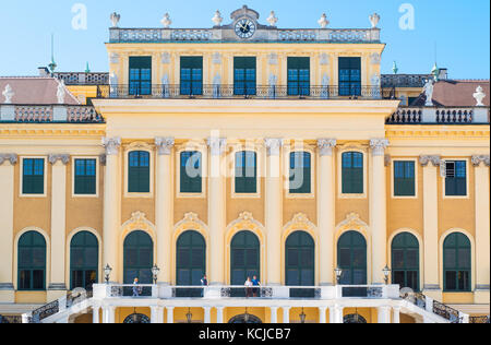 Vienna, Austria - August 7, 2016:  The main facade of the Schonbrunn Palace - Stock Photo