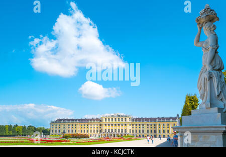 Vienna, Austria - August 7, 2016:  The rear facade of the Schonbrunn Palace seen from the garden - Stock Photo