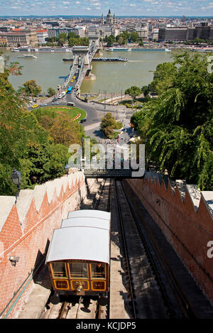 An aerial cityscape view of the Budapest Castle Hill Funicular with the Széchenyi Chain Bridge in Budapest. - Stock Photo
