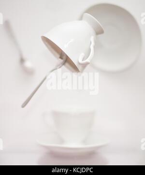 levitating tea set - Stock Photo