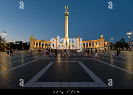 A view of Heroes' Square - Hősök tere - in Budapest at night evening dusk. - Stock Photo