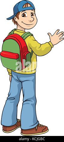 Vector cartoon of a school boy with a school bag on his back and a baseball cap worn backwards - Stock Photo