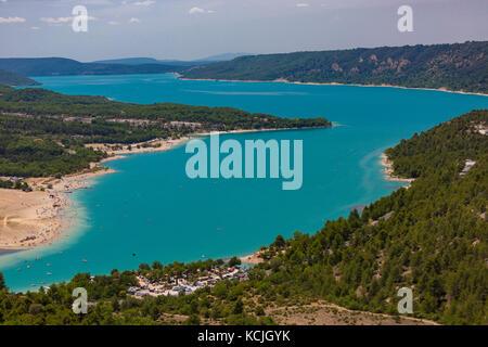 LAKE OF SAINTE-CROIX, PROVENCE, FRANCE - Man-made lake, lac de Sainte-Croix. - Stock Photo