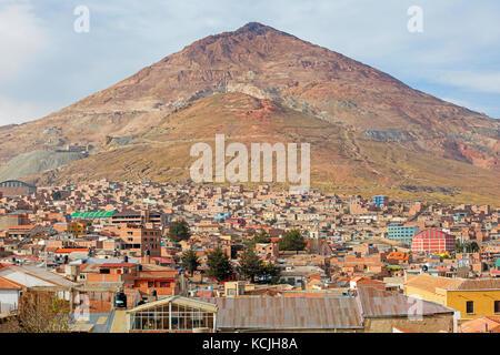 Aerial view over the city Potosi and the Cerro Rico silver mine, Tomás Frías, Bolivia - Stock Photo