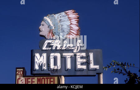 Vintage Chief Motel sign in Long Beach, CA - Stock Photo