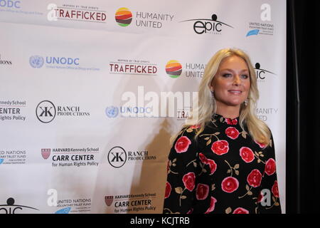 UN, New York, USA, 5th Oct, 2017. At premiere of 'Trafficking' at UN, Elizabeth Rohm and others appeared. Photo: - Stock Photo