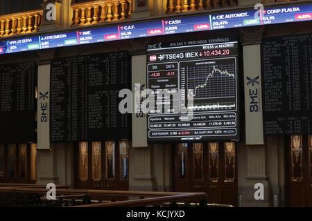An information panel shows the evolution of the Spanish index IBEX 35 at the stock market in Madrid, Spain, 06 October - Stock Photo