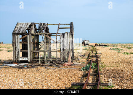 An abandoned fisherman's hut on the beach at Dungeness - Stock Photo