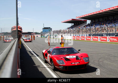 LE MANS, FRANCE, July 10, 2016 : Ford GT410 before the start of Le Mans Classic on the circuit of the 24 hours. - Stock Photo
