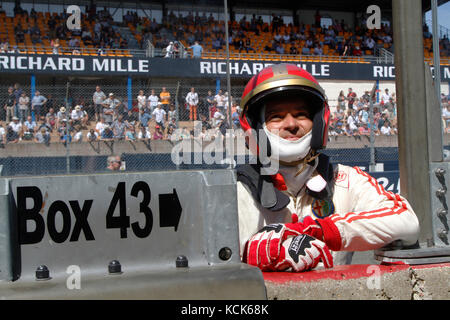 LE MANS, FRANCE, July 10, 2016 : Driver at the start of Le Mans Classic on the circuit of the 24 hours. No other - Stock Photo