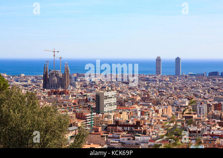 Barcelona skyline from Park Guell, Catalonia, Spain - Stock Photo