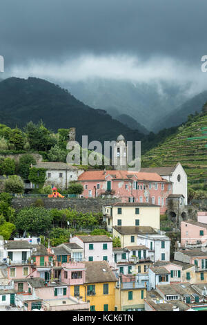 Residences and vineyards in hills, Vernazza, Cinque Terre, Italy - Stock Photo