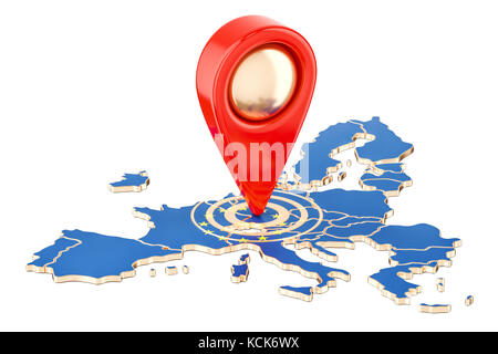 Map pointer on the map of European Union, 3D rendering isolated on white background - Stock Photo