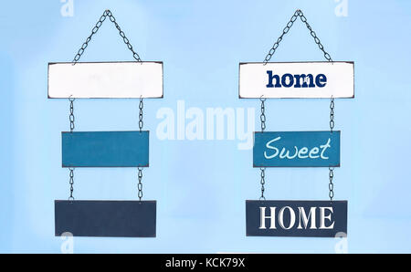 Sweet home sign on board hang on interior wall and blank boards for you to write your own text - Stock Photo