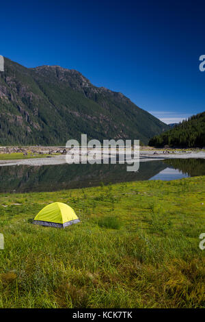 A lone bright green tent at the head of Buttle Lake in Strathcona Park provides stark contrast to a clear blue sky, - Stock Photo
