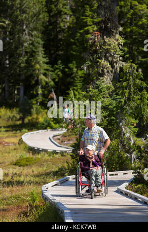 A physically handicapped woman and her partner negotiate a  boardwalk while enjoying an outing in Paradise Meadows - Stock Photo