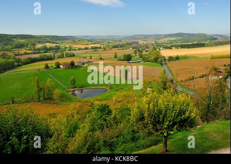view west along Highway D661 from Tournon d'Agenais, Lot-et-Garonne Department, Aquitaine, France - Stock Photo