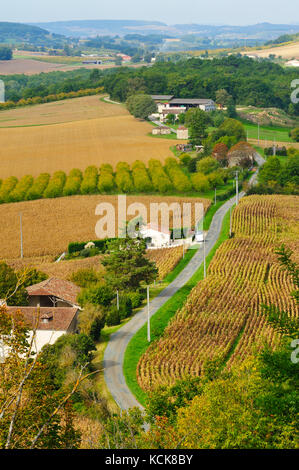 view west from Tournon d'Agenais, Lot-et-Garonne Department, Aquitaine, France - Stock Photo