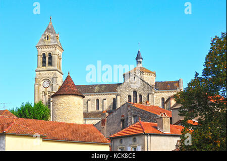 Albas with St. Etienne Church, Lot Department, Midi-Pyrenees, France - Stock Photo