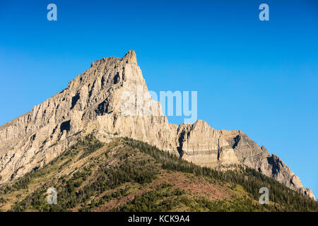 Mount Anderson or Anderson Peak, Waterton Lakes National Park, Alberta, Canada - Stock Photo