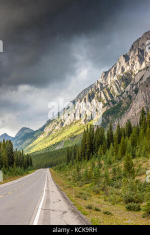 Highway through the Canadian Rocky Mountains in Peter Lougheed Provincial Park, Alberta - Stock Photo