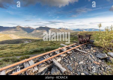 Abandoned silver mining equipment and buildings on Keno Hill, Keno City, Yukon, Canada - Stock Photo