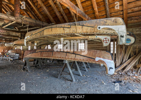 Birch bark canoes in the Canoe Shed building, Fort William Historical Park, Thunder Bay, Ontario, Canada. Stock Photo