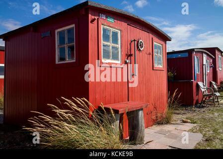 Traditional Fishermans huts Jutland, denmark - Stock Photo