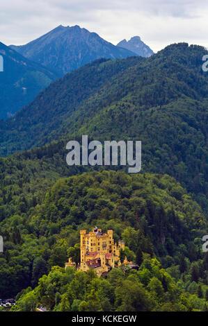 View of Hohenschwangau Castle from Neuschwanstein Castle - Stock Photo