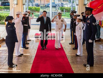 U.S. Marines, soldiers and sailors salute South Korean Defense Minister Song Young-moo (left) and U.S. Navy Pacific - Stock Photo