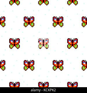 Vector Seamless Pattern Of Pixel Art Christmas Tree On White