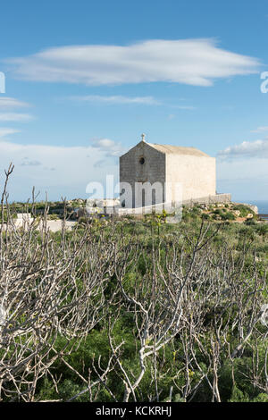 The Magdelene Chapel at the Dingli Cliffs on the south coast of Malta - Stock Photo