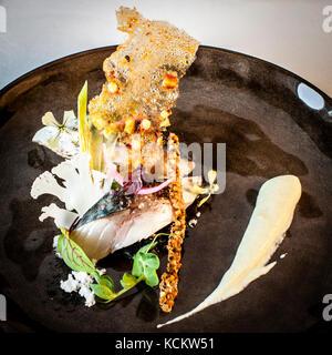 Dinner dish of Loïc Le Bail - Stock Photo