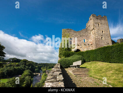 View from Richmond Castle of the river Swale and the old stone bridge. Richmond, North Yorkshire, England. - Stock Photo