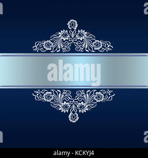 Elegant blue border with white floral ornament for wedding invitation or greeting card to anniversary - Stock Photo