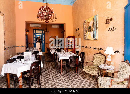 Room displaying beautiful antique furniture  in the Museo Romantico, Plaza Mayor, Trinidad, Cuba,Caribbean - Stock Photo