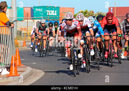 Criterium event in Burnie on New Year's Eve during the summer cycle racing carnival. Northwestern Tasmania, Australia - Stock Photo