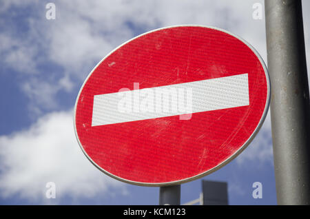 no entry street sign close up - Stock Photo