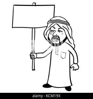 Cartoon of Islam Arab man Protest, muslim man in traditional white robe costume and skullcap holding blank placard - Stock Photo