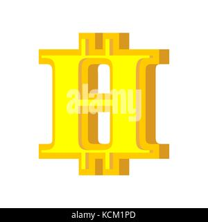 H letter bitcoin font. Cryptocurrency alphabet. Lettering virtual money. Vector illustration - Stock Photo