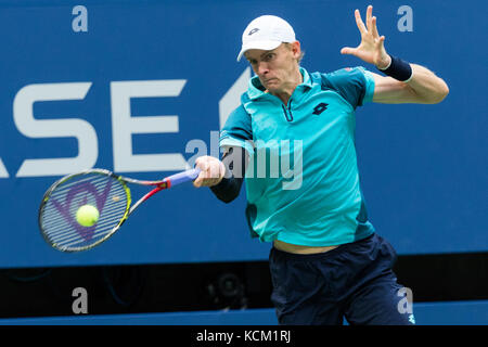 Kevin Anderson (RSA) competing in the Men's Semi-Finals at the 2017 US Open Tennis Championships. - Stock Photo