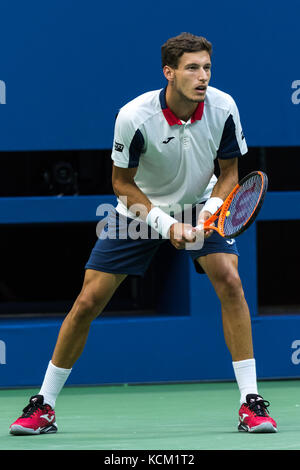 Pablo Carreno Busta (ESP) competing in the Men's Semi-Finals at the 2017 US Open Tennis Championships. - Stock Photo