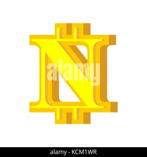 N letter bitcoin font. Cryptocurrency alphabet. Lettering virtual money. Vector illustration - Stock Photo