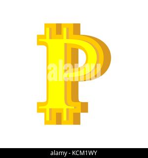 P letter bitcoin font. Cryptocurrency alphabet. Lettering virtual money. Vector illustration - Stock Photo