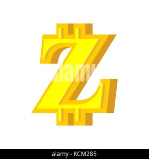 Z letter bitcoin font. Cryptocurrency alphabet. Lettering virtual money. Vector illustration - Stock Photo