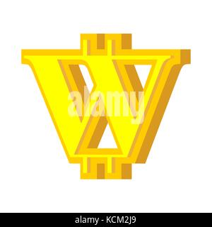 W letter bitcoin font. Cryptocurrency alphabet. Lettering virtual money. Vector illustration - Stock Photo